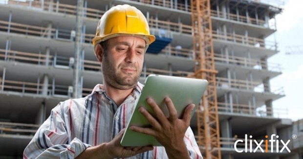 builder with ipad and logo